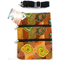 Yijan 3 Zip Aboriginal Canvas Shoulder Bag - Swamp Turtle