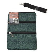 Yijan Aboriginal Art 3 Zip Canvas Shoulder Bag - Women's Ceremonial Place (Green)