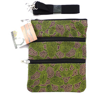 Yijan Aboriginal Art 3 Zip Canvas Shoulder Bag - Women Travelling Dreaming (Green)