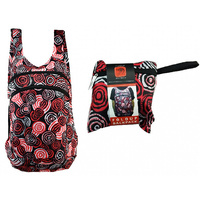 Jijaka Aboriginal Art Fold Up Backpack - Riverstones (Red)