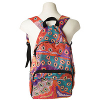 Warlukurlangu Aboriginal Art Fold Up Backpack - Green Budgerigar Dreaming