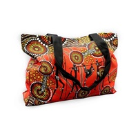 Bunabiri Aboriginal Art Canvas Bag - Hunters & Gatherers (Land)