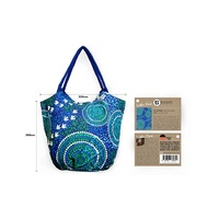 Bunabiri Aboriginal Art Canvas Shopper Bag - Wet Season