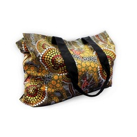 Bunabiri Aboriginal Art Canvas Bag - Ochre Kangaroo
