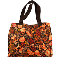 Jijaka Aboriginal Dot Art Canvas Bag - Riverstones (Orange)