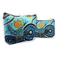 Bunabiri Aboriginal Art 1 Zip Cosmetic Purse - Blue Water Turtle