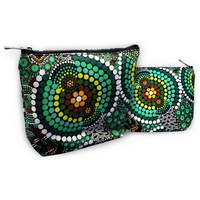 Bunabiri Aboriginal Art 1 Zip Cosmetic Purse - Green Hands