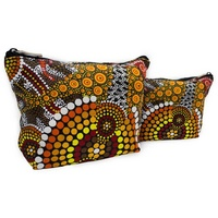 Bunabiri Aboriginal Art 1 Zip Cosmetic Purse - Ochre Kangaroo