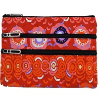 Balarinji Aboriginal Art 3 Zip Cosmetic Purse - Desert Sun