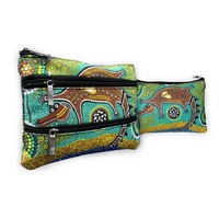 Bunabiri Aboriginal Art 3 Zip Cosmetic Purse - Crocodile Dreaming