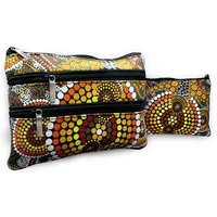 Bunabiri Aboriginal Art 3 Zip Cotton Cosmetic Purse - Ochre Dots