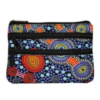 Hogarth Aboriginal Dot Art 3 Zip Cosmetic Purse - the Journey