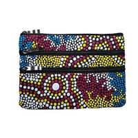 Hogarth Aboriginal Art 3 Zip Cosmetic Purse - Wetlands Dreaming