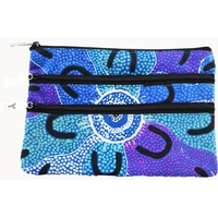 Yijan Aboriginal Art 3 Zip Cosmetic/Toiletry Purse - Crow Women Dreaming (Blue)