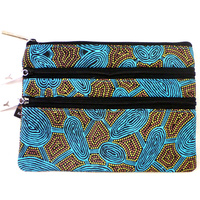 Yijan Aboriginal Art 3 Zip Cosmetic Purse - Women Travel Dreaming (Turquoise)