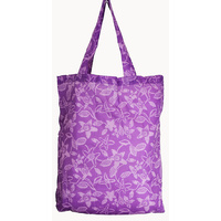 Jijaka Aboriginal Art Folding Nylon Shopping Bag -  Bushflowers (Purple)
