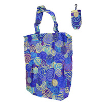 Jijaka Aboriginal Art Folding Nylon Shopping Bag - Firestones (Purple)
