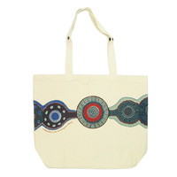 Outstations Aboriginal Art Folding Calico SUPERMARKET SHOPPING Bag - Kangaroo Story