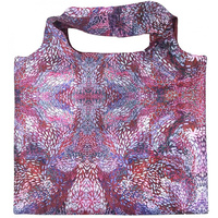 Utopia Aboriginal Art Reusable Nylon Folding Shopping Bag - Fire Sparks (Purple)