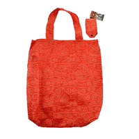 Yijan Aboriginal Art Folding Nylon Shopping Bag - Women's Ceremonial Place (Orange)
