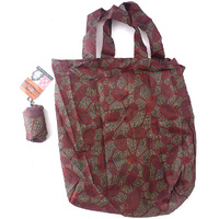 Yijan Aboriginal Art Folding Nylon Shopping Bag - Women's Travelling Dreaming (Red)