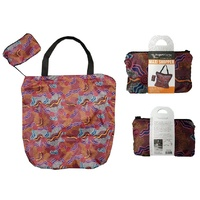 Hogarth Aboriginal Art Nylon Folding MAXI SHOPPER Shopping Bag - Salt Lake Journey