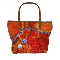 Better World Aboriginal Art Leather Trimmed Cotton Canvas Tote/Handbag - Travelling Through Country