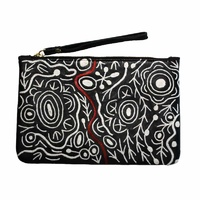 Aboriginal Art Embroidered Women's Leather Clutch Bag - Ngarindjerri Country