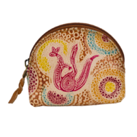 Muralappi Journey Genuine Leather Coin Purse (7.5cm x 6cm) - Kangaroo in Summer Flowers