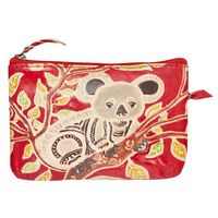 Gunditjmara Dreaming Genuine Red Leather Coin Purse (14cm x 9cm) - Koala in Tree