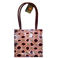 Iwantja Aboriginal Art Leather (Tote) Handbag - Plum