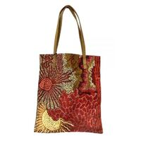 Better World Aboriginal Art Printed Cotton Canvas Shoulder Tote Bag (43cm x 38cm) - Travelling Through Country