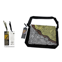 Bunabiri Aboriginal Art Satchel Bag - Fire Country Dreaming