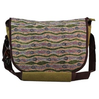 Yijan Aboriginal Art Satchel Messenger Bag (Large) - Water Dreaming Red