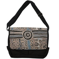 Outstations Aboriginal Art Laptop Satchel Bag by Biddy Timms (Blue/Grey)