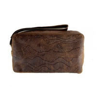 Better World Aboriginal Art Men's Leather Embossed Toiletry Bag - Sandhills (Camel)