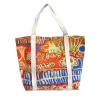 Better World Aboriginal Art Large Screen Printed Cotton Canvas Tote Bag - Two Dogs Dreaming