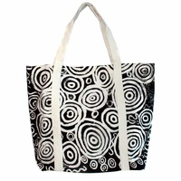Better World Aboriginal Art Large Cotton Screen Printed Canvas Tote Bag - Seven Sisters