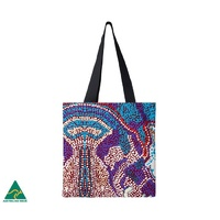 Papulankutja Aboriginal Art Cotton Tote Bag - Wati Kutjara (The Two Magic Men)