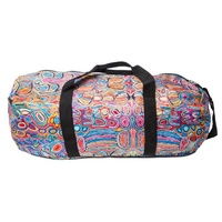 Warlukurlangu Aboriginal Art Fold Up Duffel Bag - Mina Mina Dreaming