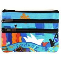 Jijaka Sydney - 3 Zip Aboriginal Art Cosmetic Purse