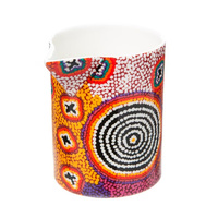 Warlukurlangu Aboriginal Art Fine Bone China Milk Jug/Creamer - Green Budgerigar Dreaming