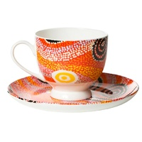 Warlukurlangu Aboriginal Art Fine Bone China Tea Cup & Saucer Set - Fire Dreaming