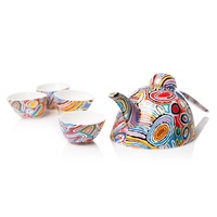 Warlukurlangu Aboriginal Art Fine Bone China Tea Set - Mina Mina Dreaming