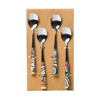 Warlukurlangu Aboriginal Art Porcelain Teaspoon Set (4) - Mina Mina Dreaming (Blue)