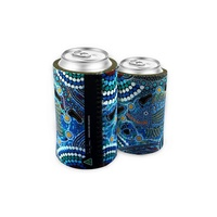 Bunabiri Aboriginal Art Neoprene Can Cooler - Barramundi Dreaming