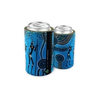 Bunabiri Aboriginal Art Neoprene Can Cooler - Hunters & Gatherers [Reef]