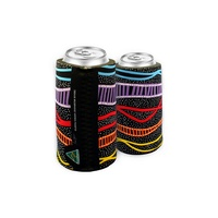 Bunabiri Aboriginal Art Can Cooler - Rainbow River (Black)