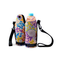 Bunabiri Aboriginal Art Neoprene Water Bottle Cooler - Water Dreaming
