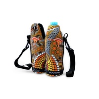 Bunabiri Aboriginal Art Neoprene Water Bottle Cooler - Colours of the Land
